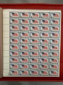 星条旗永飘扬 Long May It Wave 美国邮票 一全 整版50枚 1957年