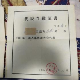 1958年、1963年孝义县人大代表当选证书,两张同一人。