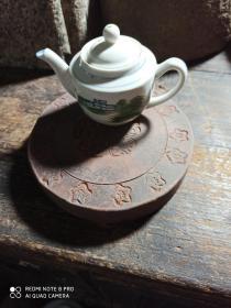 九十年代陶制宝莲花圆壶承