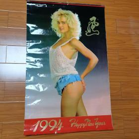 """1994年挂历。挂历名是""""风""""还是""""骚""""?不认识。外国美女模特。"""
