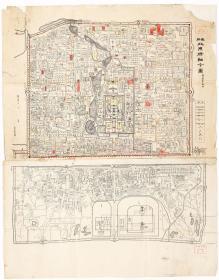 古地图1908 最新北京精细全图光绪三十四年印-京都大学。纸本大小76.82*98.08厘米。宣纸艺术微喷复制