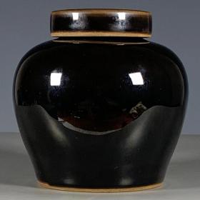 清乌金釉盖罐