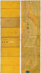 古地图1832 海塘图 道光十二年绘。纸本大小52*91.91厘米。宣纸艺术微喷复制。