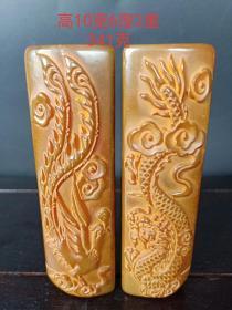 寿山石手工雕刻龙凤镇尺一对,雕刻精美 做工精致 ,手感细腻 ,包浆老道 磨损自然 品相完整