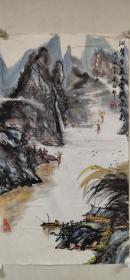 【朱梅村】精品山水画《峡江图》一幅,38厘米//68厘米,喜欢的私聊
