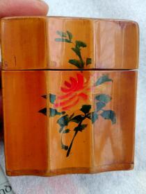 早期竹制工艺品香烟盒一个手绘图案和学习先进经验字迹