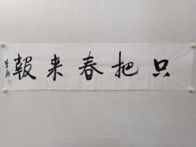 保真书画,李庚《只把春来报》书法一幅,尺寸35×138.5cm。李庚,艺术巨匠李可染之子,现为李可染画院院长,国家画院研究员,中国美协河山画会会长。