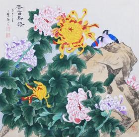 高慧 ,可合影,精品花鸟,工笔牡丹 花鸟 荷花 鱼 柿子 白菜葫芦 知了 蝉 一鸣惊人