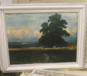 两幅名家作品80年代油画风景画人物画印刷品