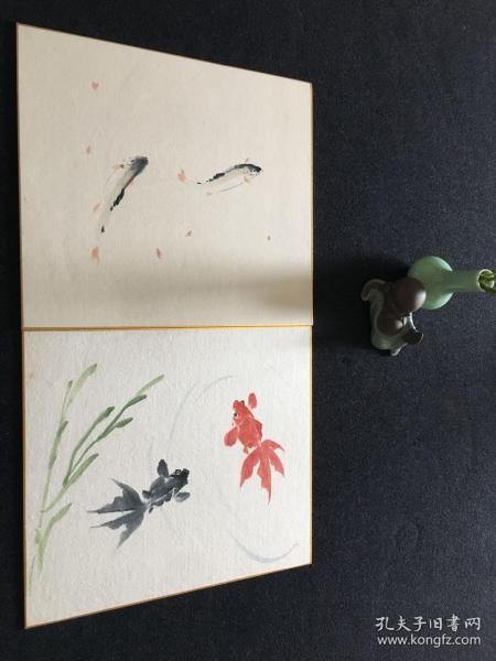 【4071】日本回流 鱼色画纸画 两幅