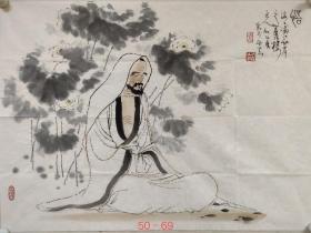 海派著名画家【顾炳鑫】精品人物画《悟道图》一幅,尺寸已标注在图片上