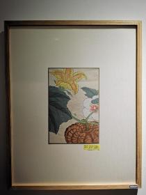 日本明治四十一年木版画南瓜