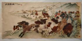 """新中国早期-刘继卣大师精心绘制""""草原春暖""""年画 宣传画,50-60年代版的少见了"""