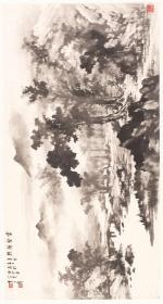 黄君璧 云壑归樵图。纸本大小62.7*117.04厘米。宣纸艺术微喷复制。170元包邮