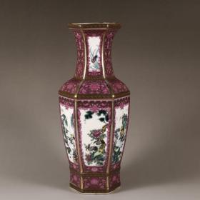清珐琅彩紫红釉花鸟六方瓶
