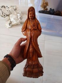 佛像,观音送子。黄杨木雕。