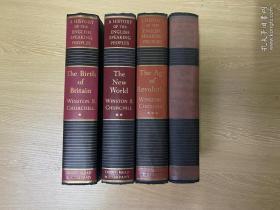 (私藏)A History of the English-Speaking People   丘吉爾《英語民族史》(英語國家史略),4卷全,獲諾獎的如椽巨筆,布面精裝毛邊本,1966年老版書