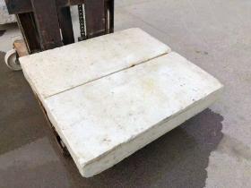 清代,汉白玉石桌面一对,造型独特,皮壳包浆浑厚。尺寸如图
