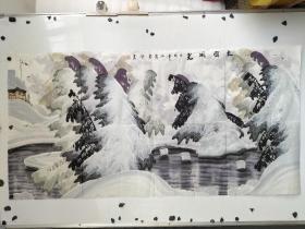 于志学  手绘彩色冰雪山水画 尺寸136x68