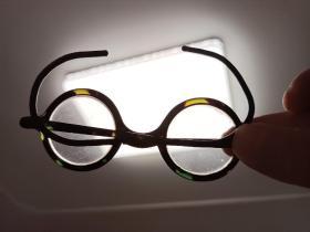 清代老物件文玩眼镜古董眼镜五彩水晶镜片古玩杂项民俗