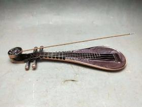 民国时期纯铜制琵琶香插香炉,品如图