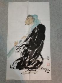 国画人物画心软片 三尺整纸 原稿手绘真迹
