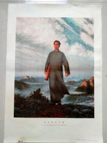 70年代宣传画年画对开毛主席去安源瑕疵,终身包老包真