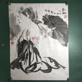 著名连环画,插图画家赵宝林水墨国画作品。近3.4平尺。保真
