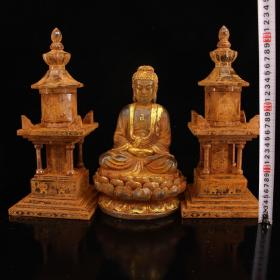 珍藏古寺地宫出土水晶雕刻释迦摩尼佛祖舍利供奉塔一套 内装有佛教无上金刚舍利子