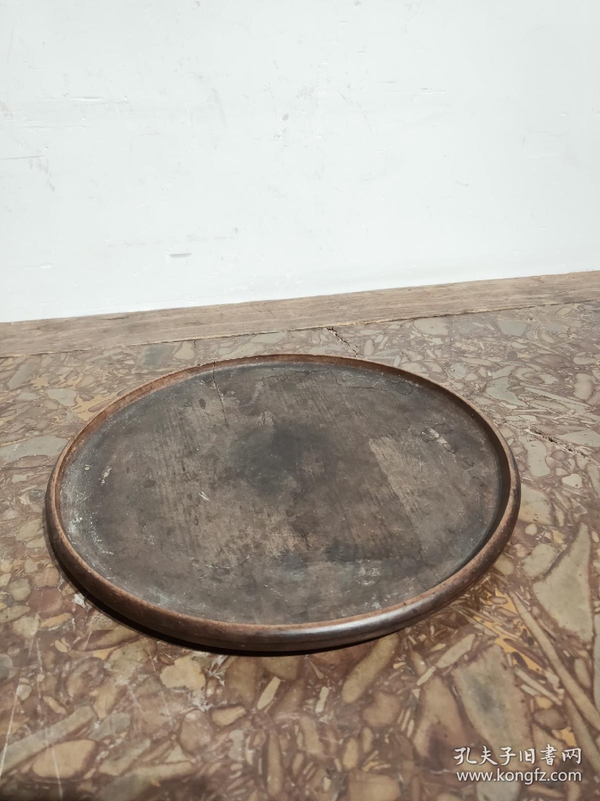 清晚期,核桃木文盘  直径16cm……可做茶盘
