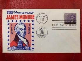 美国总统门罗诞辰200周年纪念邮票首日封