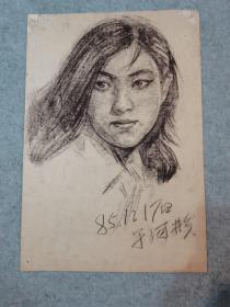 80年代素描人物 刘晓庆 原稿真迹(著名老画家,西安美院高材生作品)