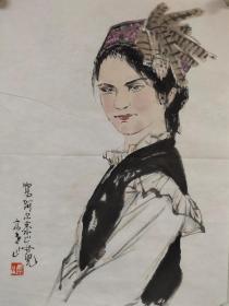 【李山】精品人物画《阿尔泰山的女儿》一幅,45厘米//68厘米,喜欢的私聊