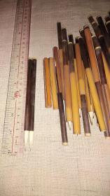 日本老毛笔,(约中国六~七十年代)库存早期竹帽兔毫尖老毛笔……共70支