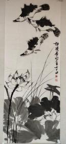 【许麟庐】国画《荷花 鳜鱼》一幅,54厘米//136厘米,喜欢的私聊