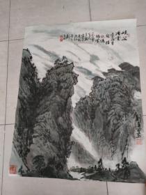畫家,劉在田,山水畫《畫心84*65》《保真》
