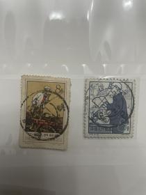 老纪特邮票的全戳2张一起 江苏、上海