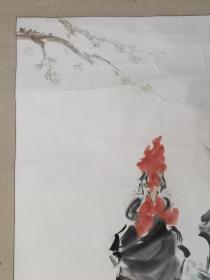 保真书画,吉林名家,汤明哲国画《奋进》大吉图一幅,原装裱镜心,展览原作,画心尺寸123×83cm,画心上部边上后右边有开口,原吉林轻工厅厅长,中国美协会员,中国工艺美术大师评审委员会委员,书画专业委员会副主任,画家,雕塑家。
