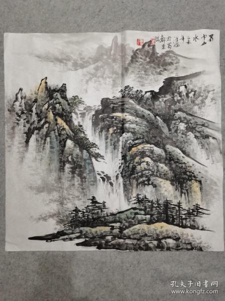 杨老师国画蜀中山水 四尺斗方画心软片原稿手绘真迹