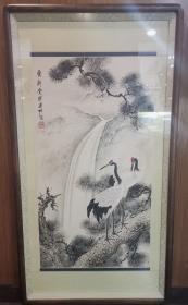 溥仪堂弟,民国松风画会著名画家,津门绘画八大家之一,溥佐松鹤延年镜心,旧裱,画心:82*44cm。