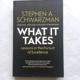 What It Takes: Lessons in the Pursuit of Excellence  苏世民:我的经验与教训 黑石集团创始人苏世民个人传记  精装 插图