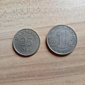外国钱币 丹麦1954年硬币(面值25)(YB5)