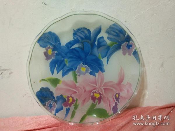 老物件八十年代琉璃玻璃盘