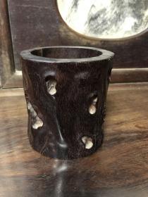 约创汇时期 紫檀精雕树瘤笔筒(尺寸;高12.3cm*口径12.5cm)