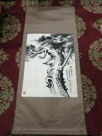 著名版画家画家肖晨老师国画《古松春色》一幅,