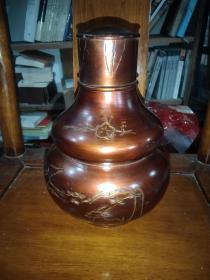老锡茶叶罐一个(高23公分重1500克)一流老品相无磕碰保存相当好