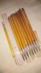 老毛笔;早期中国天津制  刚毫书画笔  共9支  刻字与未刻  近全品相