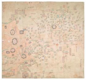 古地图1841 宁波府六邑及海岛洋图 清道光21年以前。纸本大小59.1*55.3厘米。宣纸艺术微喷复制。