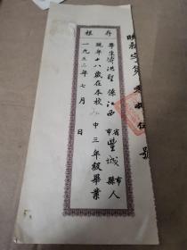 1951年毕业证书存根:上海市私立晓光中学(并入震旦附中,1958年并入上海市向明中学) 傅洪圣(江西丰城人)