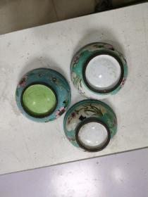 铜胎珐琅彩  3个合售,缺盖(尺寸如图)